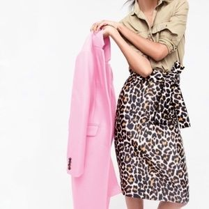 J. Crew Leopard Print Pencil Skirt with Tie Waist
